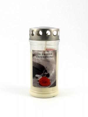 """JEKA Austria Grabkerze M10-Rose """"In ewiger Erinnerung"""", mit Witterungsschutz, aus Pflanzenöl"""