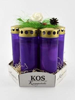 Kerzengesteck (violett, rot, orange oder weiß)