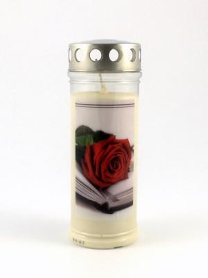 JEKA Austria Grabkerze M27-Rose Buch, mit Witterungsschutz, aus Pflanzenöl
