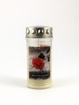 """JEKA Austria Grabkerze M9-Rose """"Unvergessen"""", mit Witterungsschutz, aus Pflanzenöl"""