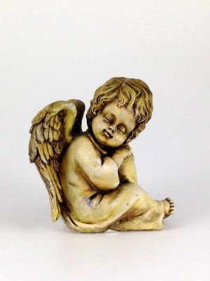Engel sitzend braun 12 cm hoch