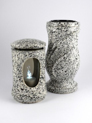 Grablaterne & Vase in Granit-Optik hell