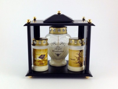 Kerzenhaus edles schwarz klein 25 x 18 x 25 cm