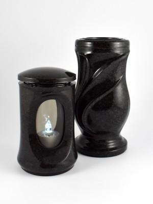 Grablaterne & Vase in Granit-Optik dunkel
