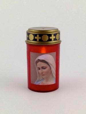 Elektrisches Grab-Licht LED Kerze 12 cm rot mit Marienbild