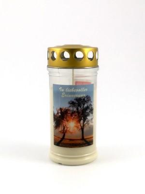 JEKA Austria Grabkerze M13-Baumpaar, mit Witterungsschutz, aus Pflanzenöl