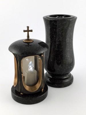 Grablaterne & Vase Set aus echtem Granit