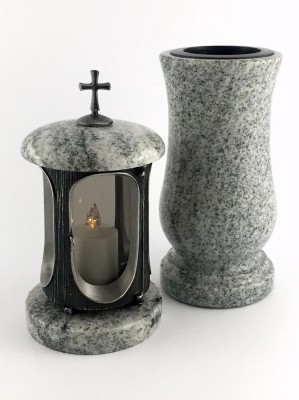Grablaterne & Grabvase aus echtem Granit hell