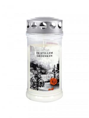 JEKA Austria Grabkerze M6 Rose & Barock mit Witterungsschutz, aus Pflanzenöl