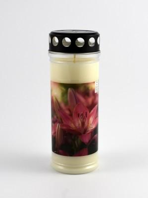 Grabkerze mit Motiv Blume 7 Tage Brenndauer 21 cm Design 2