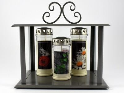 Kerzenhaus grau beschichtet groß 25 x 35 x 33 cm