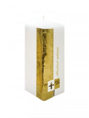 "JEKA-Zierkerze Vierkant ""goldfarbig"" groß 20 x 7 cm"