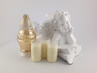 Engel 37 cm mit hochwertigem Schutzlack weiß mit Kerzenset