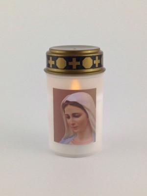 Elektrisches Grab-Licht LED Kerze 12 cm weiß mit Marienbild
