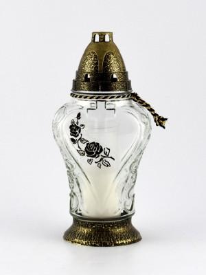 Glas-Grabkerze 25 cm hoch