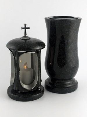 Grablaterne & Grabvase aus echtem Granit dunkel