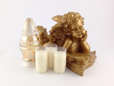 Engel 37 cm mit hochwertigem Schutzlack goldfarbig mit Kerzenset