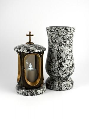Grablaterne & Grabvase aus echtem Granit hell&dunkel