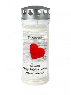 JEKA Austria Grabkerze M37-Herz, mit Witterungsschutz, aus Pflanzenöl