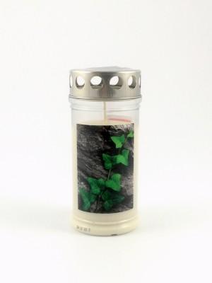 JEKA Austria Grabkerze M4-Efeu auf Stein, mit Witterungsschutz, aus Pflanzenöl