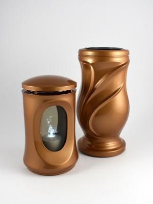 Grablaterne & Vase Set goldfarbig