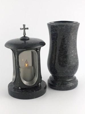 Grablaterne & Grabvase aus echtem Granit grau