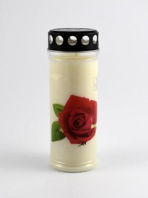 Grabkerze mit Motiv Rose 7 Tage Brenndauer 21 cm Design 7