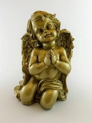 Engel 33 cm mit hochwertigem Schutzlack goldfarbig